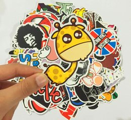Wholesale Decal Words - Good Quality 100pcs lot Multi Design Random Music Film Vinyl Skateboard Guitar Travel Doodle Graffiti Decal Cute Fashion Car Funny Stickers