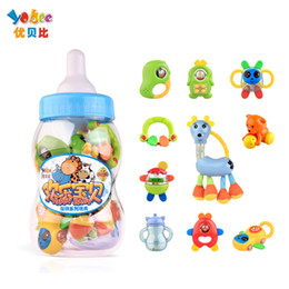 Wholesale Milk Bottle Toy - Wholesale- Yobee 10Pcs set Baby safe Rattles Big Milk Bottle Hand Shake Bell Ring Toy Teether Product Educational Christening Gift