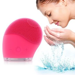 Wholesale Silicon Cleaning Brush - Waterproof Sonic Facial Cleaning Face Brush Cleansers Silicon Vibrating Pink Super Clean Machine Cleaning Brush KKA1212