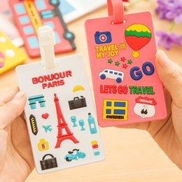 Wholesale Name Card Holders - Air Plane Cartoon Qute Luggage Tag Travel Baggage Handbag ID Rubber Tags Name Card Holder