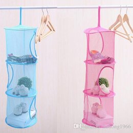 Wholesale Plastic Bras - Mesh Hanging Bag Color Net Multi Storey Socks Shorts Bra Underwear Storage Cage Cylindric Hang Basket Practical Home Tool 3 9xj F R