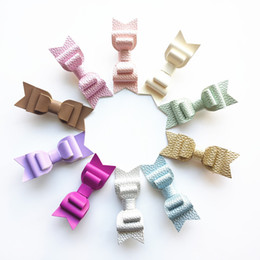 Wholesale Baby Grips - NEW 20pcs 3 Levels Hair Bows New Prince Baby Girls Hair Clips with Faux Glitter Litchi Stria Leather Hair Grip Stripe Pink Hairpins