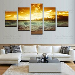 Wholesale Sun Painting Modern Art - Large Canvas Art The Yellow Sea&Setting Sun Decoration Painting Print On Canvas Living Room Wall Pictures Modern Abstract Painting