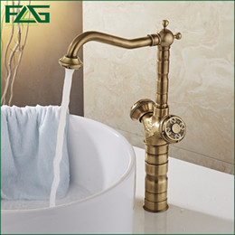 Wholesale Antique Copper Mixer - FLG Bathroom Faucet Antique Brass All-copper Double Handle 360 degree Rotating Deck Mounted Cold Hot Sink Mixer Water Tap 10703