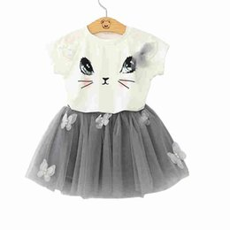 Wholesale Leopard Tulle - Girl Outfits Kids Clothes 2pieces Suits Short Sleeveless Cotton 100% T-shirt + Tutu Dresses Tutu Skirt Tulle Child Lovely Clothes 2Y-7Y