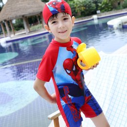 Wholesale Spiderman Swimwear - 2017 Boys Cartoon Spiderman Swimwear Children 2pcs Sets Swimsuit Short Sleeve Tops+Hats Kids Swimming Clothing Boy Swimsuits Surfing Suits