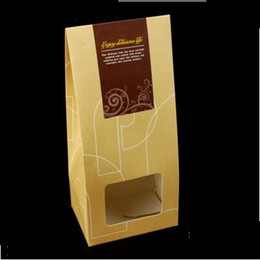 Wholesale Cardboard Tea Box - Cardboard Bag with Window Food Snack Tea Bag Packing Kraft Paper Bag Food Wholesale Paper Boxes Qin.12.06