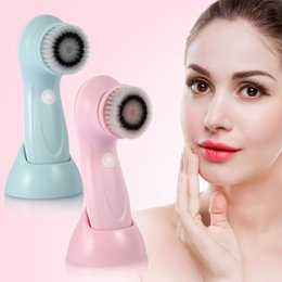 Wholesale Usb Clean - Usb Rechargeable Electric Wash Brush Face Spa Cleaner Rotating Pore Blackhead Acne Remover Deep Cleansing Soft Massager Brushes