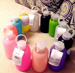 Wholesale Cups Cover Glass - Brk Candy colors Fun creative 500mL glass cups Colored jelly cup kettle Silicone Case Cover carry a water bottle Free shipping