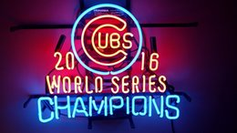 """Wholesale Sports Neon Lights - Sports Teams Cubs WorldCham Beer Real Glass Neon Light Sign Home Beer Bar Pub Recreation Room Game Room Windows Garage Wall Sign 24""""w * 20""""h"""