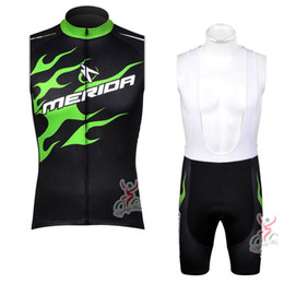 Wholesale Cycling Vest Bib - 2017 pro team merida cycling sleeveless jersey cycling vest bicycle bib shorts set with gel pad summer quick dry Ropa ciclismo D0718