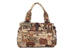 Wholesale Teddy Bear Handbags - High Quality Teddy Bear Canvas Women Handbag Casual Large Capacity Bag Hot Sell Female Totes Brand Bags Solid Shoulder Bag