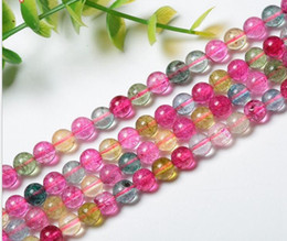 Wholesale Tourmaline Beads Necklace - hot sales fashion women Watermelon tourmaline loose beads 6A quality women natural stone beads for making necklace