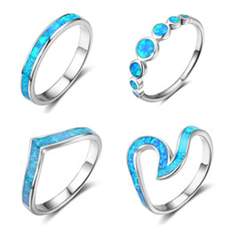 Wholesale Vintage Engagement Party - 10Pcs a lot 925 sterling silver opal ring women midi ring vintage wedding ring jewelry rings lots
