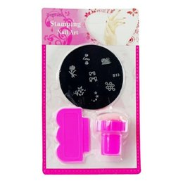Wholesale Stamping Nail Art Design - Stamper+Scraper+Template Nail Art Set Polish Flower Stamp Printing Nails Design Polish Mould Stencil Manicure Nail Tools ZA1641