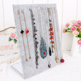 Wholesale Velvet Jewelry Display Stands - High Quality L Shaped Necklace Stand Jewelry Pendants Display Jewelry Organizer Shelf Pendant Holder Jewelry Decoration Showcase