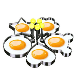 Wholesale Heart Shaped Pancake Mold - Different Shapes Stainless Steel Fried Egg Molds Creative Cooking Tool Fried Egg Pancake Heart Star Flower Ring Round Shape Mould Mold