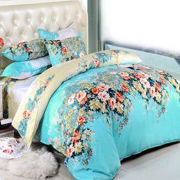 Wholesale Sheet Set Double - Wholesale-2016 Flower Printed Bedding Sets 4pcs 3pcs Single Double Scenery Bed Set Bedclothes no Comforter Duvet Cover Sheet Pillowcase
