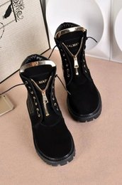Wholesale Knee High Boots Zipper - Women luxury brand genuine leather ankle boots original quality motorcycle martin designer zipper snow boots size 35-41