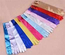 Wholesale Wholesale Color Satin Gloves - 11 color Long princess gloves for girls Elsa girls Wedding dress gloves with bow costume accessories Satin gloves Birthday Gift