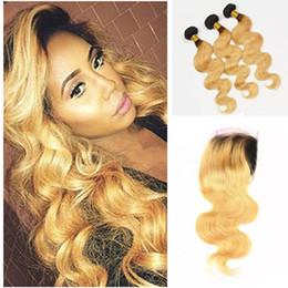 Wholesale Dark Honey Blonde Body Wave - Dark Roots Honey Blonde Lace Closure With Bundles Two Tone Ombre Human Body Wave Hair Weave With Lace Closure Baby Hair Around