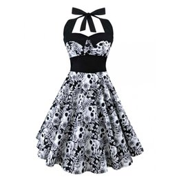 Wholesale Sleeveless Skater Dress - 2017 Summer Vintage Retro 50s 60s Skull Rose Floral Printed Rockabilly Skater pin up swing Flare dress Plus size 4XL 5XL vestido de festa