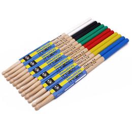 Wholesale Wholesale Drumsticks - Wholesale Colorful Maple Wood Drum Sticks 5A 7A Anti-slip Electronic Drum Rack Drumsticks Musical Sticks Percussion Instruments Part
