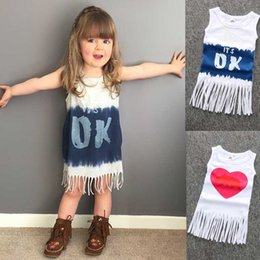 Wholesale Summer Love Princess Dress - KS17 New Arrivals INS Baby GIRL Love Heart Tassel dress little princess sexy sleeveless round collar INS dress Girl's Casual Dresses