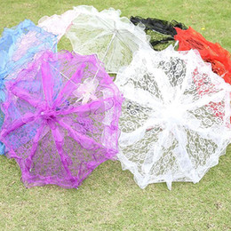 Wholesale Bridal Party Umbrellas - DIY Mini Ivory Umbrella Lace Photography Prop Embroidered Parasol Fashion Style Girls Bridal Flower Wedding Party Sun Umbrellas