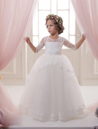 Wholesale Dresses 12 Years Old Girls - Communion Romance Solid Applique Lace Satin Tribute Silk Soft Tulle Ball Gown Half Sleeve Communion Dresses 2-12 Year Old Girls