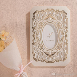 Wholesale Bridal Shower Cards - Luxury Laser Cut Wedding Invitations Cards with Gold Flora 2D Design CW6035 Engagement for Bridal Shower Birthday Party Favors