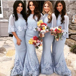 Wholesale China Dress Satin - Unique 2017 Lace Sweetheart Mermaid Bridesmaid Dresses Long With Shawl Appliqued Maid Of Honor Gowns Custom Made China EF70513