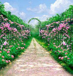 flores de vinil fotografia de fundo Desconto Primavera Rosa Jardim De Flores De Casamento Cenários De Fotografia De Vinil Céu Azul Nuvens Brancas Do Arco Porta Ao Ar Livre Cênica Do Estúdio Sessão De Fotos De Fundo