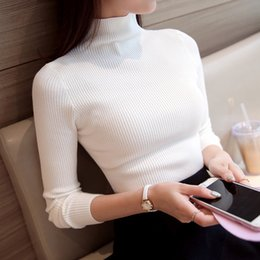 Wholesale Long Winter Sweater For Women - Wholesale-2016 Korean Autumn Winter Knitted Sweaters for Woman Pull Femme Slim Comfortable Turtleneck Long Sleeve Sueter Mujer Chandail