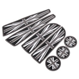 Wholesale Cooper Union - 7pcs set Soft Silicone Union Jack Style Cup Holder Coasters, Side Door Compartment Mats For MINI Cooper R55 R56 R57 R58 R59