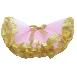 Wholesale cheap wholesale tutu skirts - Cheap Golden Ribbon Weaving Ruffle Handmade Kids Ballet Tutu For Party Costumes Baby Girls Tutu Skirt