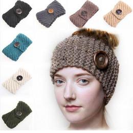 Wholesale Headband Blanks - Knit Ear Warmer Wholesale Blanks Crochet Headband with Wood Buttons Handmade Wool Blend Chunky Headwrap Cozy in Oatmeal DOMIL106098