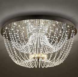 Wholesale Nature Crystal Pendant - 2017 NEW 33'Modern LED K9 Crystal Curtain Ceiling Pendant Lighting Dining Living Lamp G27 FREE SHIPPING MYY