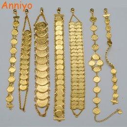 Wholesale Muslim Islamic Bracelet - Anniyo Gold Color Money Coin Bracelet Islamic Muslim Arab Coins Bracelet for Women Men Middle Eastern Jewelry Gifts