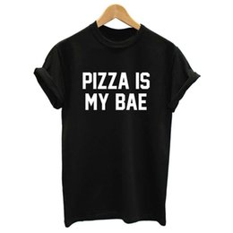 Wholesale Pizza Printed Shirt - Wholesale-Women Summer Top Pizza Is My Bae Letters Print T shirt 2015 Sexy Slim Funny Top Tee Black White