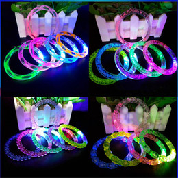 Wholesale Bracelet Children - LED Flash Blink Glow Color Changing Light Acrylic Children Toys Lamp Luminous Hand Ring Party Fluorescence Club Stage Bracelet Bangle Xmas