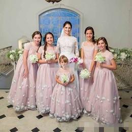 Wholesale kids bridesmaid dresses short - 2017 Custom Made Flower Girl Dresses for Wedding Blush Short Sleeve 3D Flowers Jewel Cheap Junior Bridesmaid Dress Kids Birthday Party Gown