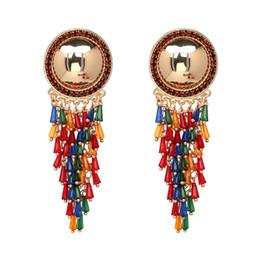 Wholesale Crystal Pagoda - Crystal dangle bead bohemian earring alloy metal with long colorful pagoda irregular bead big stud top carol bijou fashion custom jewelry
