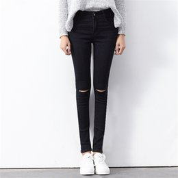 Wholesale High Waist Distressed Jeans - Wholesale- Women 2017 New Fashion Stretch Ripped Knees Distressed Skinny Denim Jean Pants High Waist Jeans Woman BLACK BLUE