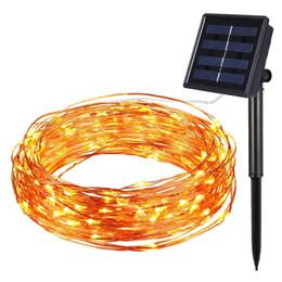 2019 décoration solaire de noël nouveau Solar Power String Light étanche LED 10m 100 LED lampe de fil de cuivre blanc chaud pour la décoration de lampe de Noël en plein air décoration solaire de noël pas cher