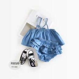 Wholesale Denim Tshirt - Girls Clothing Set Summer Baby Clothes Kids Denim Outfits Boutique Toddler Tshirt Camisole Shorts Fashion Children Suits