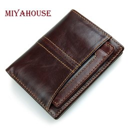 Wholesale Mens Small Bifold Wallets - Wholesale- Miyahouse Male Bifold Wallets Genuine Leather Mens Short Purse Small Thin Card Holders Wallet Man Zipper Coin Purse High Quality