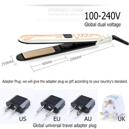 Wholesale Hair Dryer Professional - Portable Hair Straightener Flat Iron LED Display Professional Ceramic Plate Iron Styling Tools UA EU AU UK