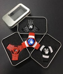 Wholesale Iron Man Retail Box - DHL Free Triangle Zinc Alloy Fidget Spinner Spider Man Iron Man Hand Spinner Captain America Fidget Spinner with Retail Box