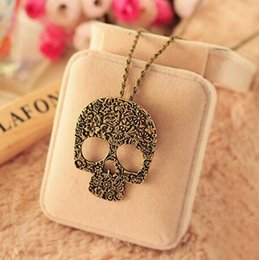 Wholesale Exaggerate Resin Necklace - 2017 Punk women Necklace Stainless Skull Pendant Necklace Exaggerated pendant 192